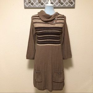 Style & Co Sweater Dress Striped Cowl Neck, Size M